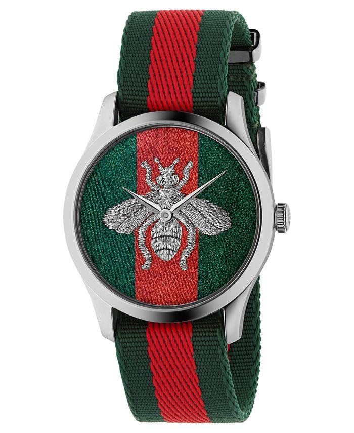 Gucci - Unisex Swiss G-Timeless Green-Red-Green Nylon Web Strap Watch 38mm