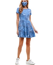 Juniors' Tie-Dyed Tiered Dress & Reversible Face Mask