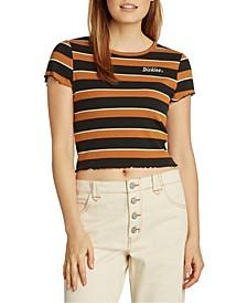 Juniors' Lettuce-Edge Striped Cropped T-Shirt