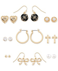 Gold-Tone 9-Pc. Set Crystal, Imitation Pearl & Jet Logo Earrings