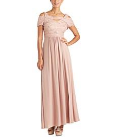 Cold-Shoulder Lace Gown