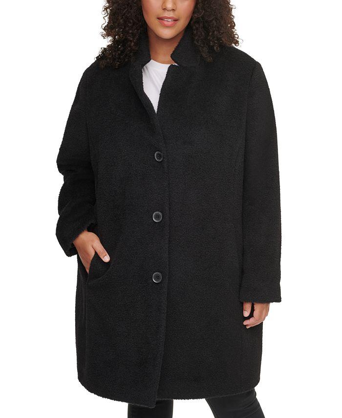 DKNY - Plus Size Single-Breasted Walker Coat