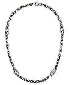 "Interlocking G Motif 16-1/2"" Chain Necklace in Sterling Silver"