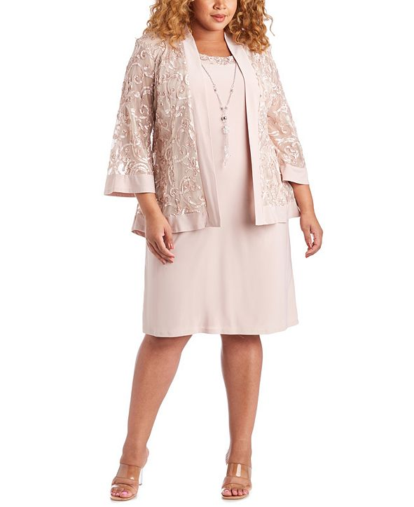 R & M Richards Plus Size Dress & Soutache Jacket