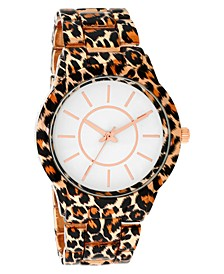INC Women's Gold-Tone Leopard-Print Bracelet Watch 38mm, Created for Macy's