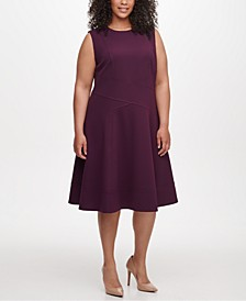 Plus Size Seam-Detail Fit & Flare Dress
