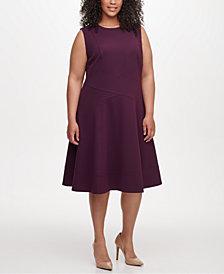 Tommy Hilfiger Plus Size Seam-Detail Fit & Flare Dress