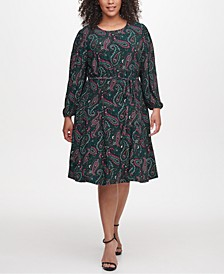 Plus Size Paisley-Print Fit & Flare Dress