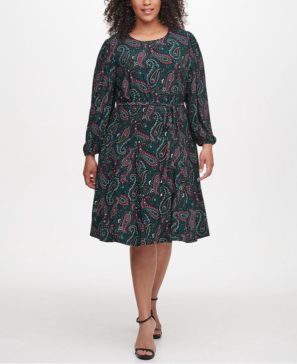 Tommy Hilfiger Plus Size Paisley-Print Fit & Flare Dress