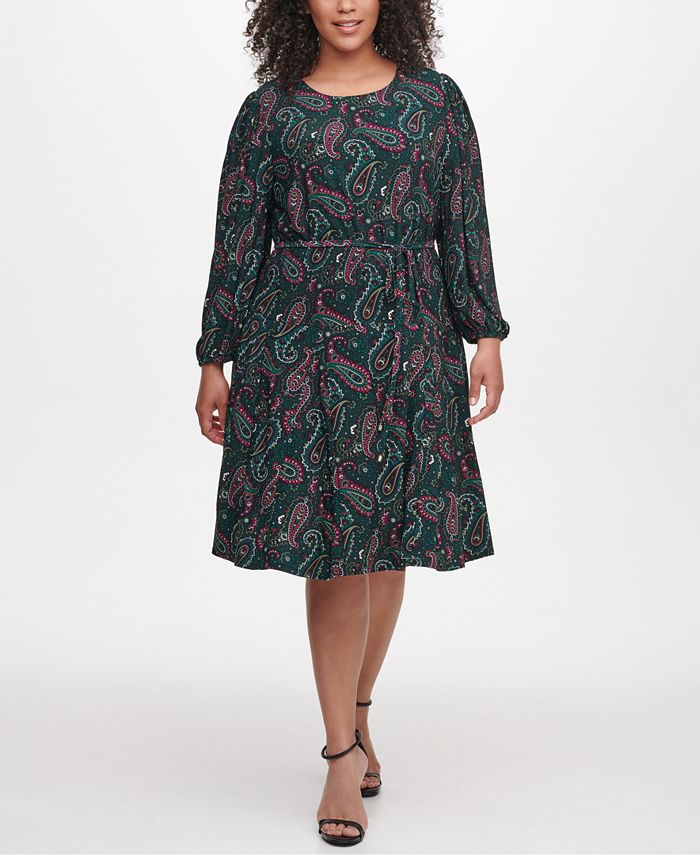 Tommy Hilfiger - Plus Size Paisley-Print Fit & Flare Dress