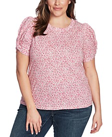 Plus Size Floral-Print Twist-Sleeve Top