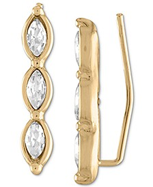 Gold-Tone Navette-Crystal Ear Climber Earrings