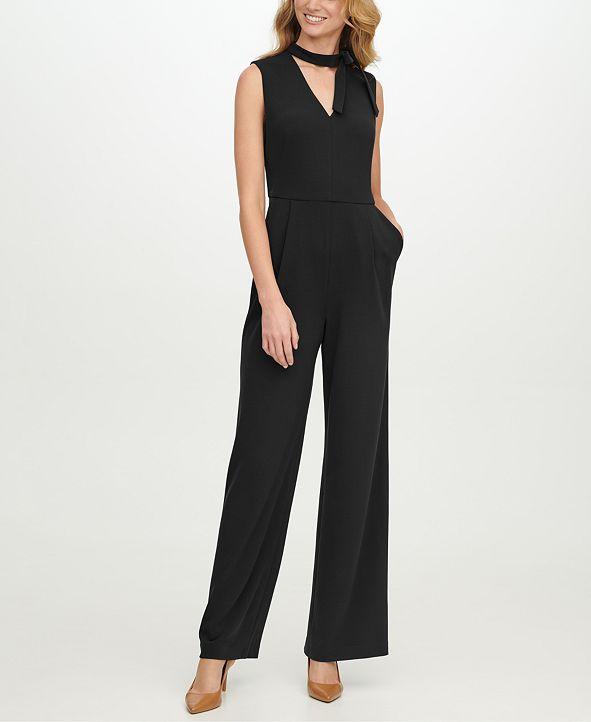 Calvin Klein Tie-Neck Wide-Leg Jumpsuit
