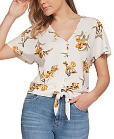 Floral-Print Tie-Hem Top