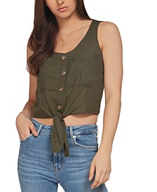 Button-Front Tie-Hem Top