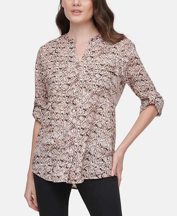 Calvin Klein Printed Tab-Sleeve Top
