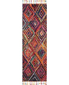"Nomad NMD01 Red and Multi 2'2"" x 6' Runner Rug"