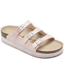 Women's Florida Birko-Flor Nubuck Icy Metallic Soft Footbed Sandals from Finish Line