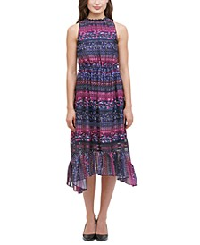 Printed Tiered High-Low Dress