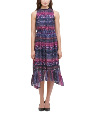 Kensie KENSIE PRINTED TIERED HIGH-LOW DRESS