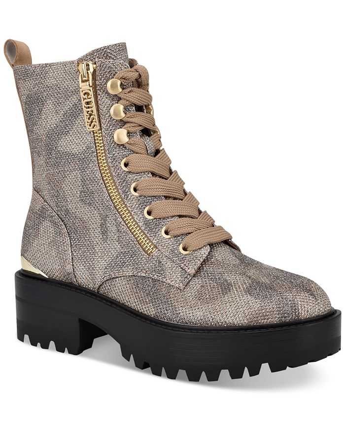 GUESS - Women's Fearne Lace-Up Booties