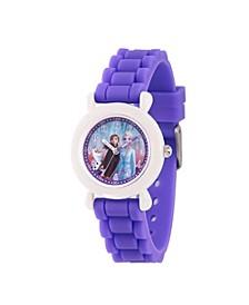 Disney Frozen 2 Elsa, Anna, Olaf Girl's White Plastic Time Teacher Watch 32mm