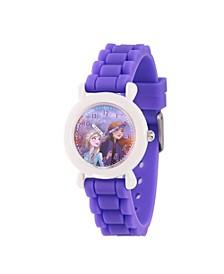 Disney Frozen 2 Elsa, Anna Girl's White Plastic Time Teacher Watch 32mm