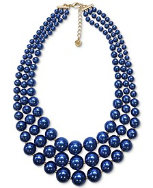 "Gold-Tone Blue Imitation Pearl Triple-Row Statement Necklace, 18"" + 2"" extender, Created for Macy's"