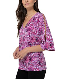Split-Sleeve Paisley-Print Top