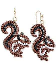 INC Gold-Tone Beaded Squirrel Drop Earrings, Created for Macy's