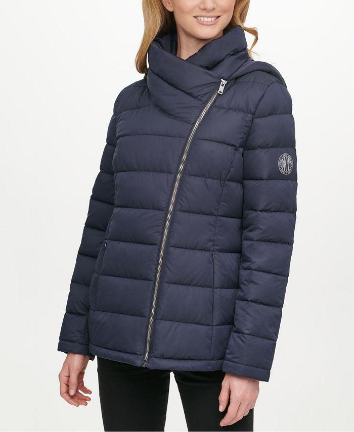 DKNY - Asymmetrical Hooded Packable Puffer Coat