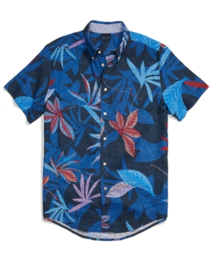 Tommy Hilfiger Men's Adaptive Custom Fit Tropics Short-Sleeve Shirt with Magnetic Buttons