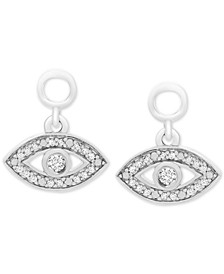 Diamond Accent Evil Eye Earring Charms in Sterling Silver