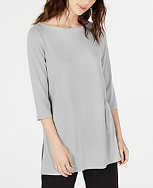 Boat-Neck Vented-Hem Tencel ™ Top