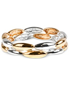 Two-Tone Oval Double-Row Stretch Bracelet, Created for Macy's