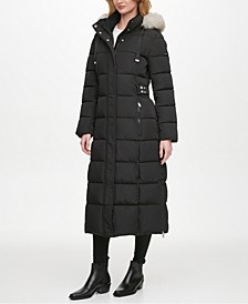 Faux-Fur Trim Hooded Maxi Puffer Coat