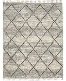 "Oslo Shag OSL01 Ivory and Gray 7'10"" x 10'6"" Area Rug"