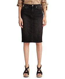 Petite Five-Pocket Denim Skirt