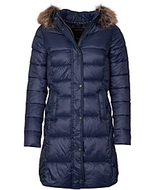 Jamison Faux-Fur-Trim Hooded Puffer Coat