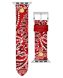 Women's Red Bandana-Print Band For Apple Watch® Leather Strap 38mm/40mm