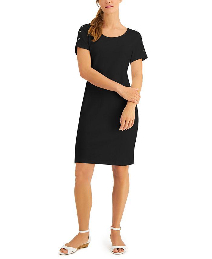 Karen Scott - Plus Size Cotton Button-Shoulder Dress