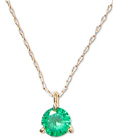 "Gold-Tone Crystal 3-Prong Mini Pendant Necklace, 15"" + 3"" extender"