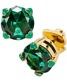 Gold-Tone 4-Heart Prong Green Crystal Stud Earrings
