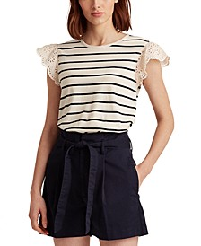 Ruffle Sleeve Eyelet Knit Top
