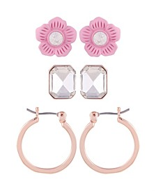 Flower 3 Piece Earring Set