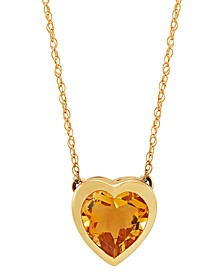 "Gemstone Bezel Heart 18"" Pendant Necklace in 10k Gold"