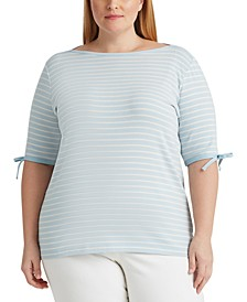 Plus Size Striped Cotton-Blend Top