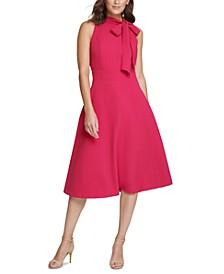 Bow-Neck Midi Dress