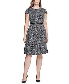 Plus Size Polka-Dot Belted Dress