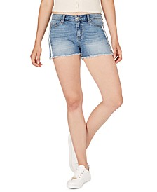 Side-Stripe Frayed Denim Shorts